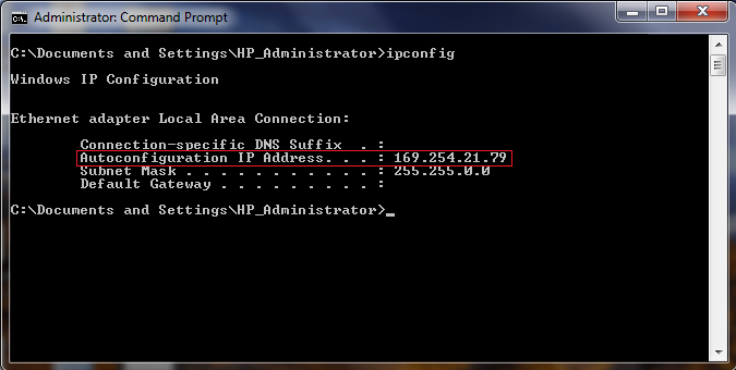 This is a screenshot of the Command Prompt showing an example of the output that ipconfig will give you when connected over direct LAN.