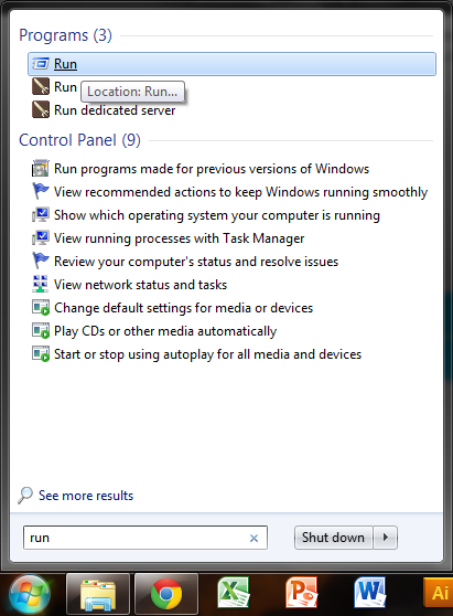 This is a screenshot showing how to open the RUN program in Windows 7, using the start menu's embedded search function.