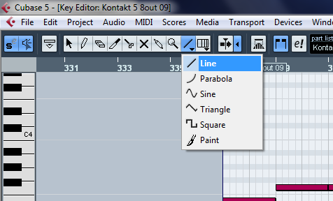 A screenshot of me selecting the Line Tool in Cubase 5