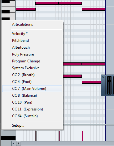 Here's another screenshot of Cubase that shows how to change from velocity to main volume
