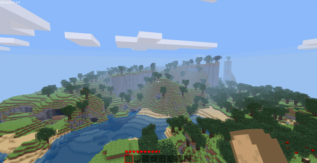 Here's a screenshot of a Minetest world I generated