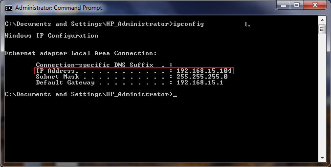 This is a screenshot of the Command Prompt showing an example of the output that ipconfig will give you when connected through a router.