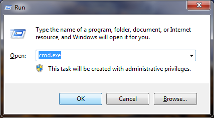 "A picture showing the RUN program (under windows 7) with ""cmd.exe"" in the text box."