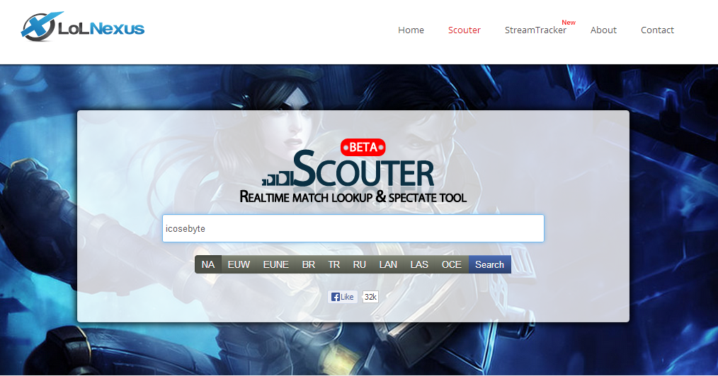 "This is a screenshot of the LoL Nexus website, precisely the ""Scouter"" tool, before we've entered a summoner name."