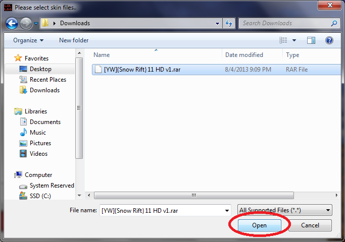 This screenshot shows how to select the downloaded map with the siu file browser