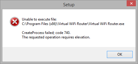 Screenshot of the error message displayed by virtual wifi router when it requires administrative rights
