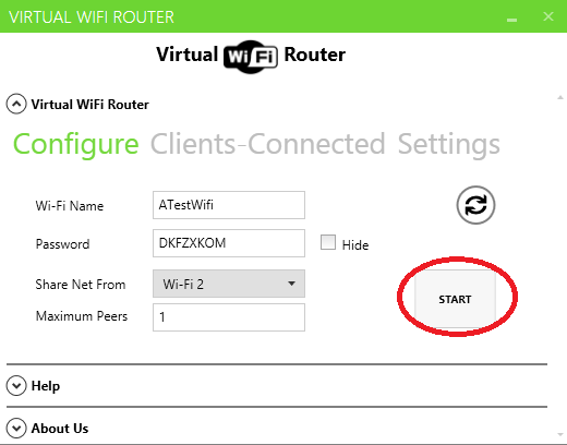 This is a screenshot of the Virtual WiFi Router user interface