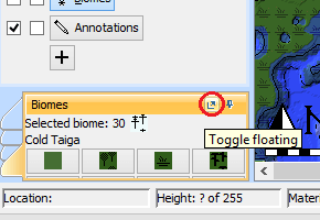 Toggle floating biomes pane