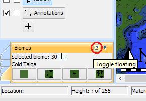 Toggle floating biomes pane