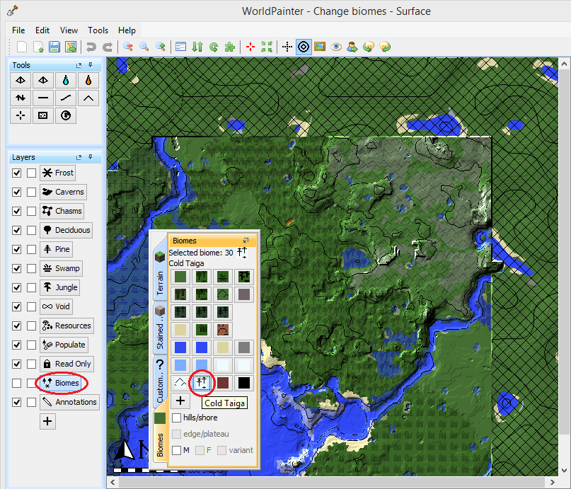 Select biomes in worldpainter