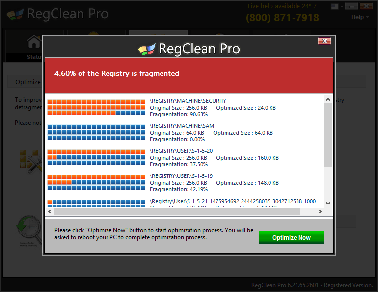 RegClean registry fragmentation report
