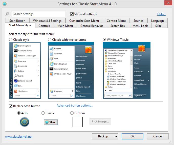 ClassicShell options