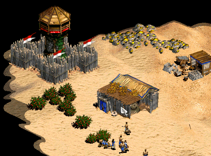Age of Empires - Surround towers with palisades
