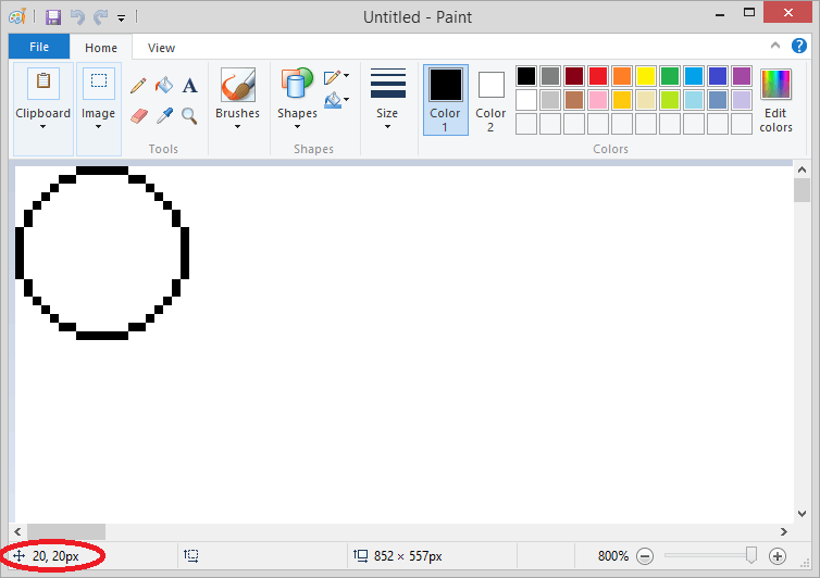 Drawing the circle in paint